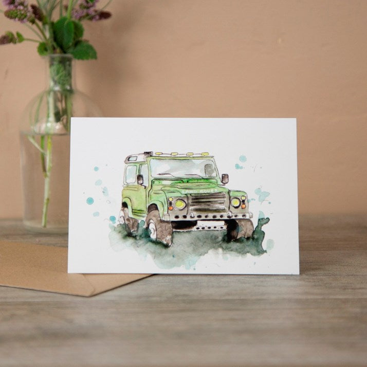 Landrover' Defender Watercolour Greeting Card