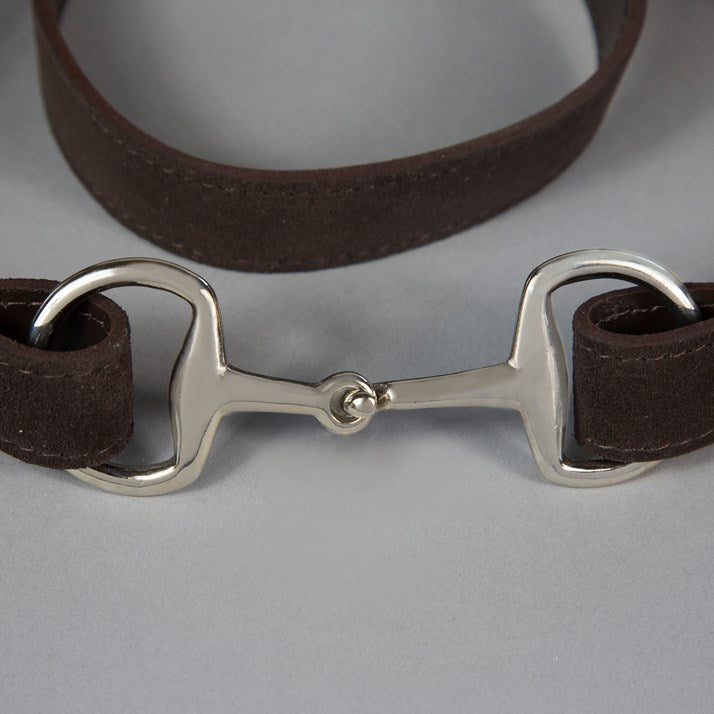 Chocolate Suede & Steel Snaffle Buckle Belt