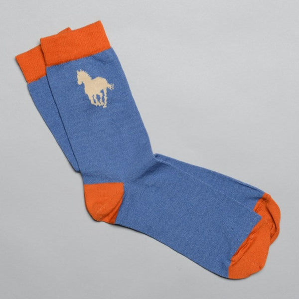 Men's Denim Blue Cotton Horse Socks with cream horse emblem and orange toe, heel and ankle sections