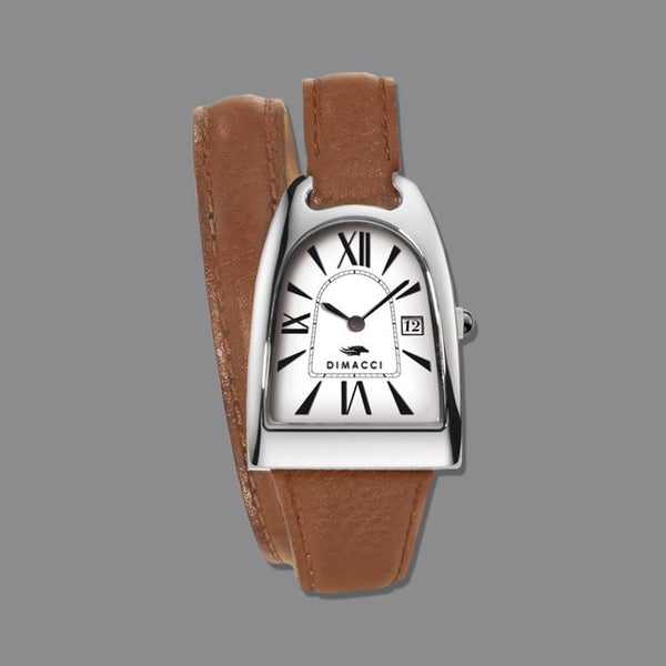 Tan Leather and Chrome Dimacci Stirrup Watch