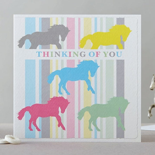 Thinking of You Pastel Horses Greeting Card
