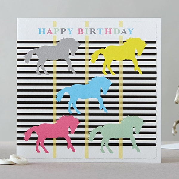 Mono Stripe Pastel Horses Happy Birthday Card