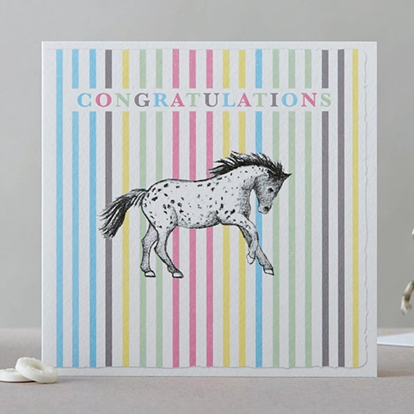 Spotty Horse Stripy Congratulations Card