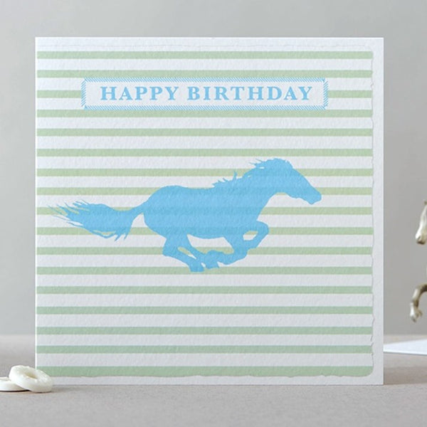 Galloping Horse Stripy Birthday Card