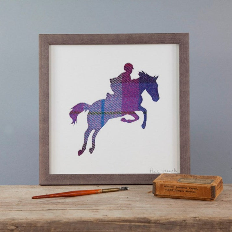 Purple Tartan Showjumping Silhouette Picture in wooden frame