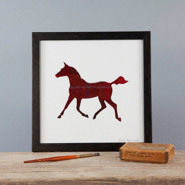 Red Tweed Trotting Horse Silhouette Picture