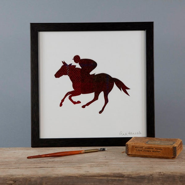 Red Tweed Horse Racing Silhouette Picture
