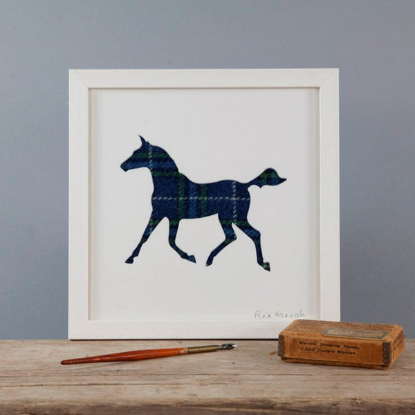 Navy Tweed Trotting Horse Silhouette Picture in a white frame