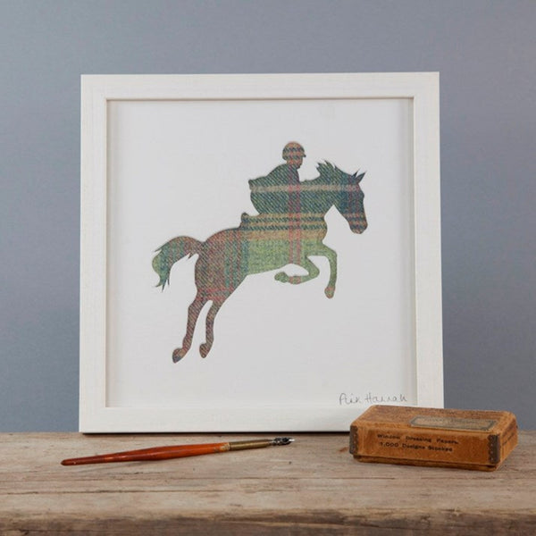 Pastel Tartan Showjumping Silhouette Picture in white frame