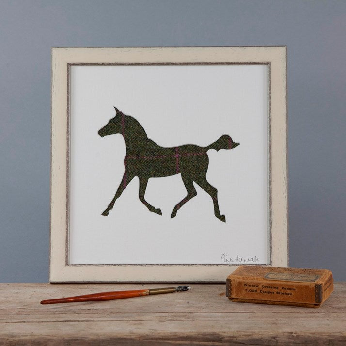 Green & Pink Tweed Trotting Horse Silhouette Picture