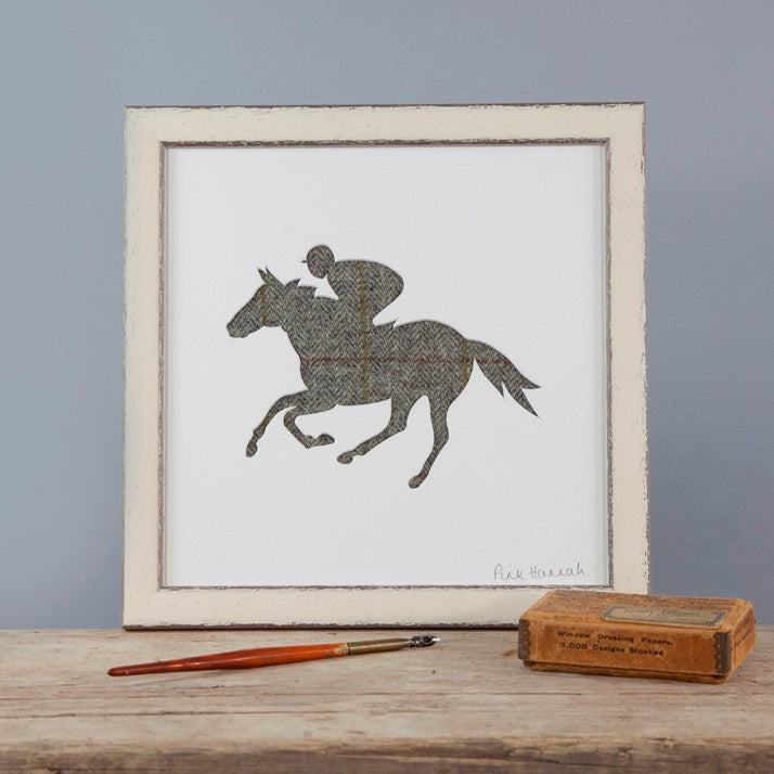 Grey Tweed Horse Racing Silhouette Picture