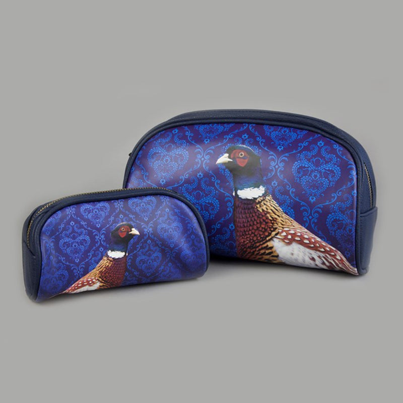 Navy Blue zip top wash bag with pheasant image