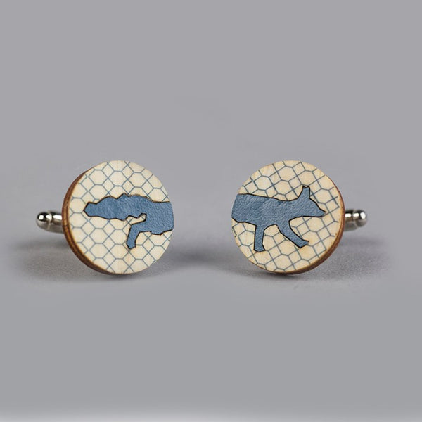 Wooden Teal Painted Fox Cufflinks