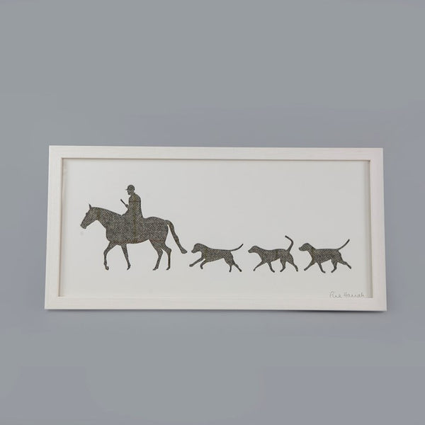 Grey Tweed Huntsman & Hounds Picture in a white frame