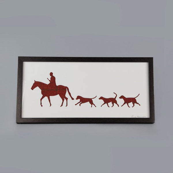 Red Tweed Huntsman & Hounds Picture in a black frame