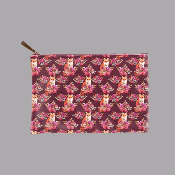 Floral Print Fox Flat Washbag