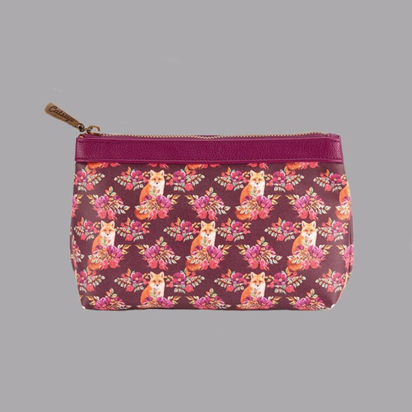 Floral Print Fox Zipped Make-up Bag