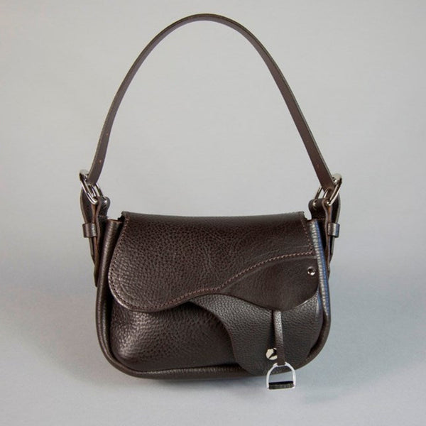 'Palomo' Leather Saddle Handbag - Espresso