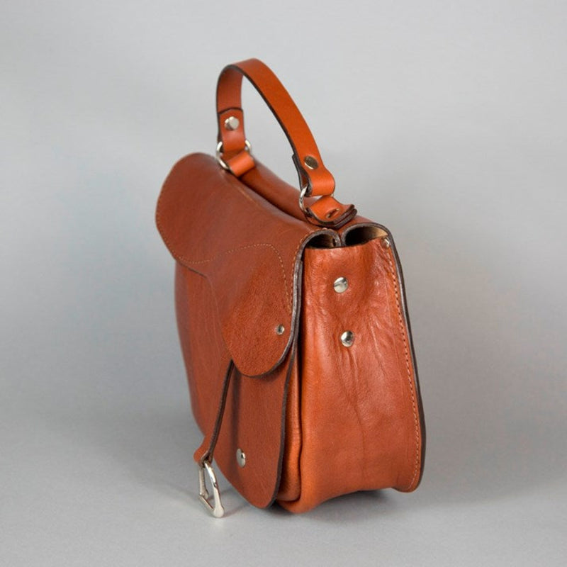 Marengo II' Leather Saddle Handbag - Saffron