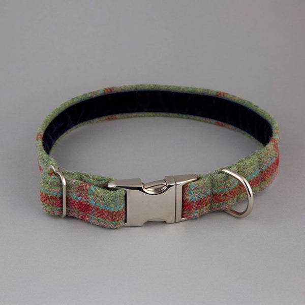 Green & Red Wool Tartan Dog Collar