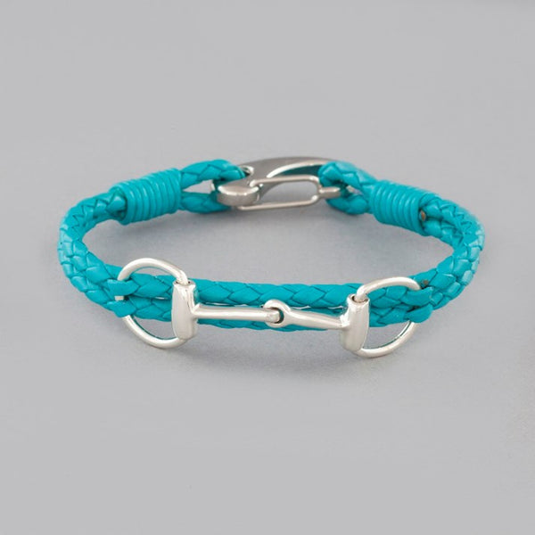 Turquoise Leather Solid Silver Snaffle Bracelet