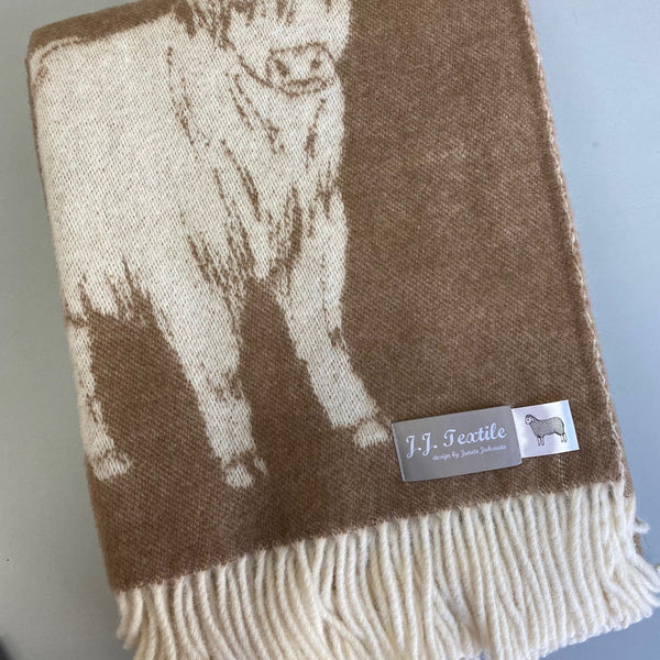 Highland Cow Wool Blanket