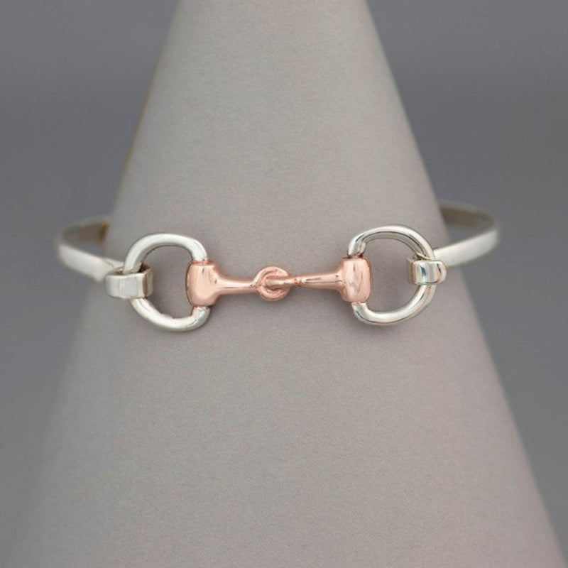 Hiho Solid Silver & Rose Gold Full Snaffle Bit Bangle
