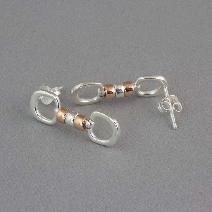 Silver & Rose Gold Cherry Roller Equestrian Jewellery Earrings