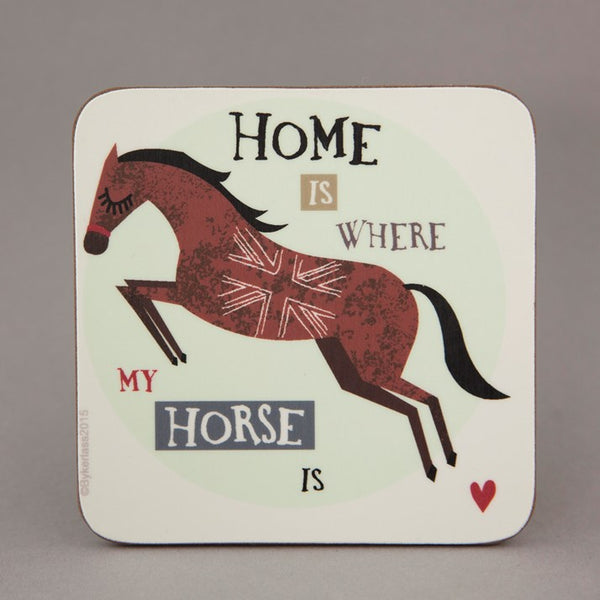 Wooden backed coaster with 'home is where my horse is' slogan, with jumping horse print