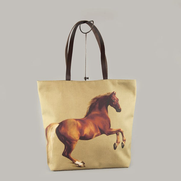 Whistlejacket Linen Holdall Bag with brown leather straps and horse image on the front