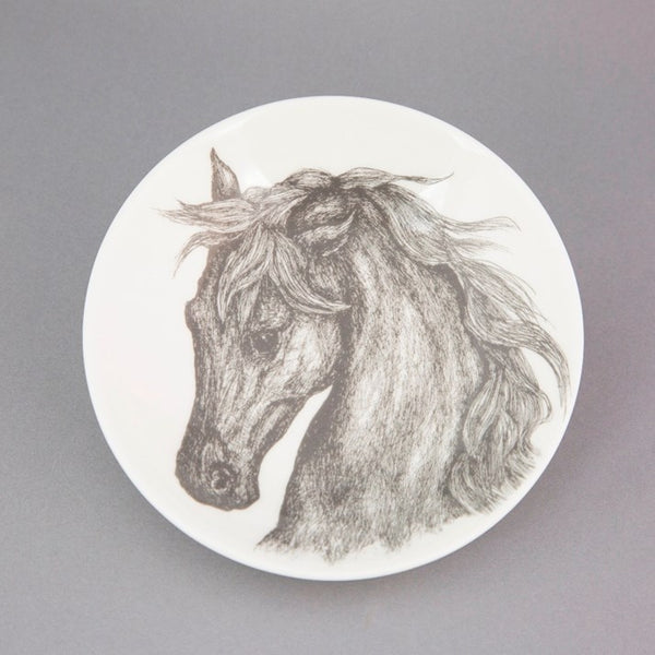 White bone china dish with beautiful grey horse head