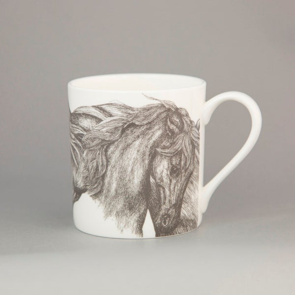 white bone china horse mug