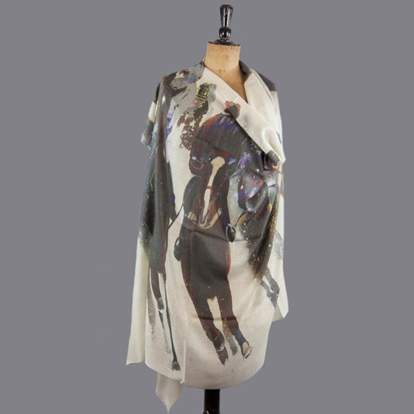 Horse Riders In The Snow Cashmere Blend Large Scarf/Wrap