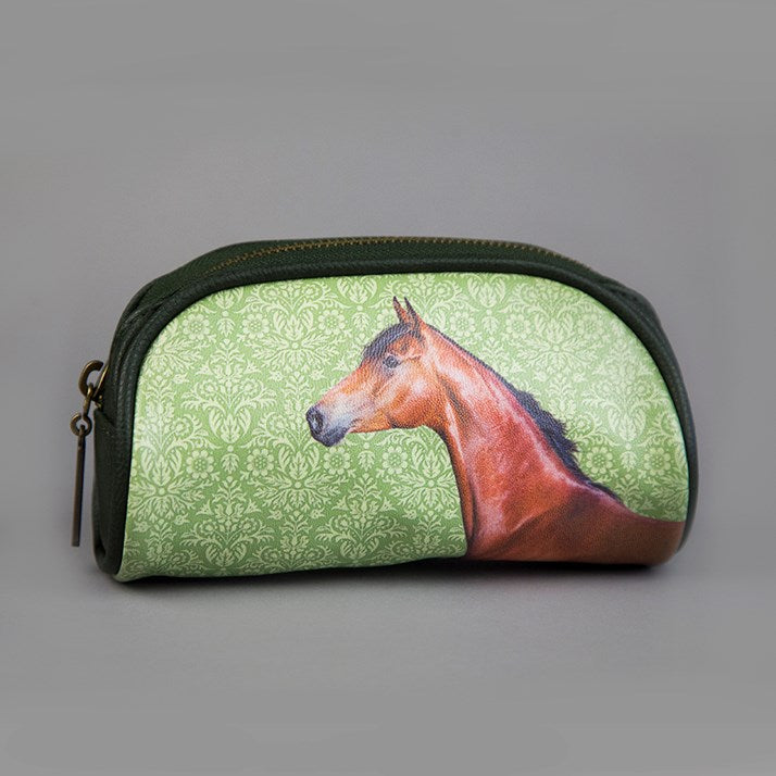 Green Horse Rider Gift Oval Zip Bag