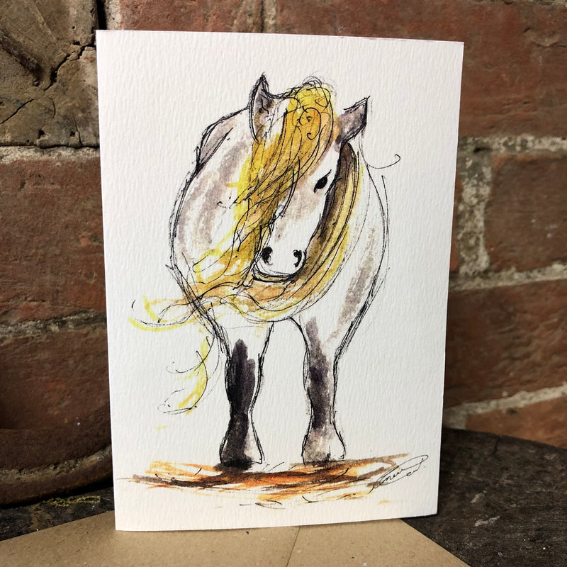White greeting card with sketched image of a horse
