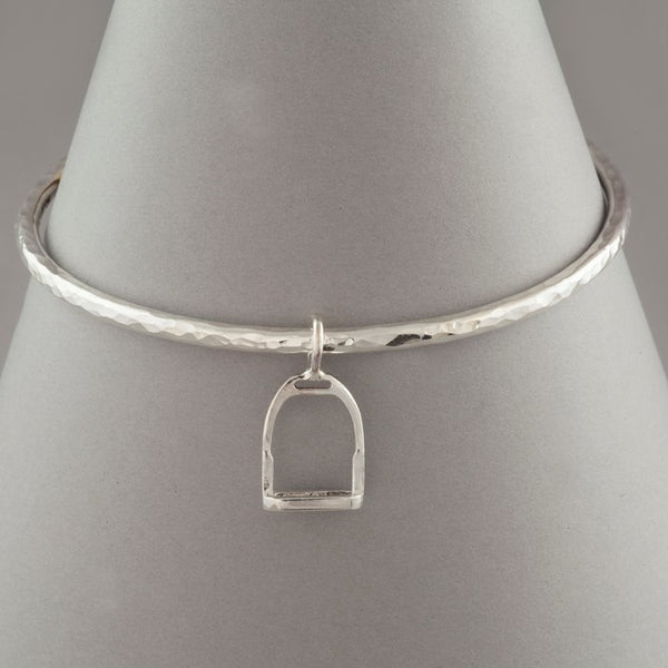 Solid Silver Stirrup Charm Bangle