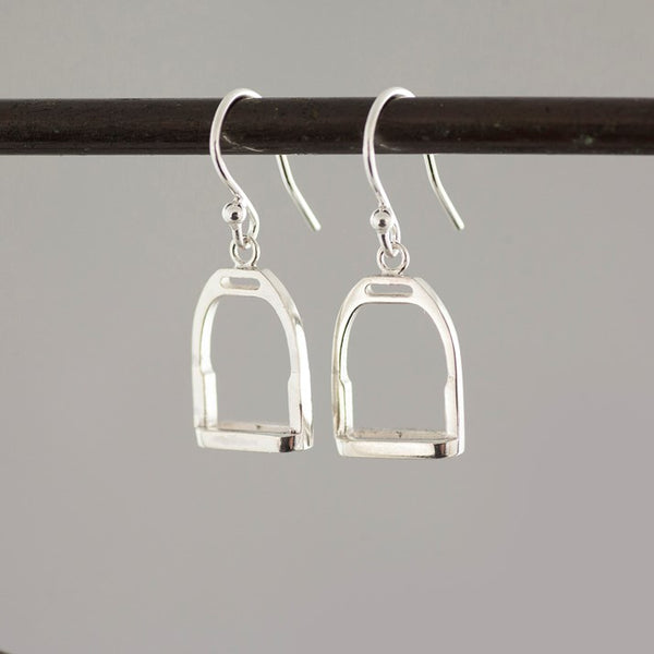 Sterling Silver Stirrup Charm Drop Earrings