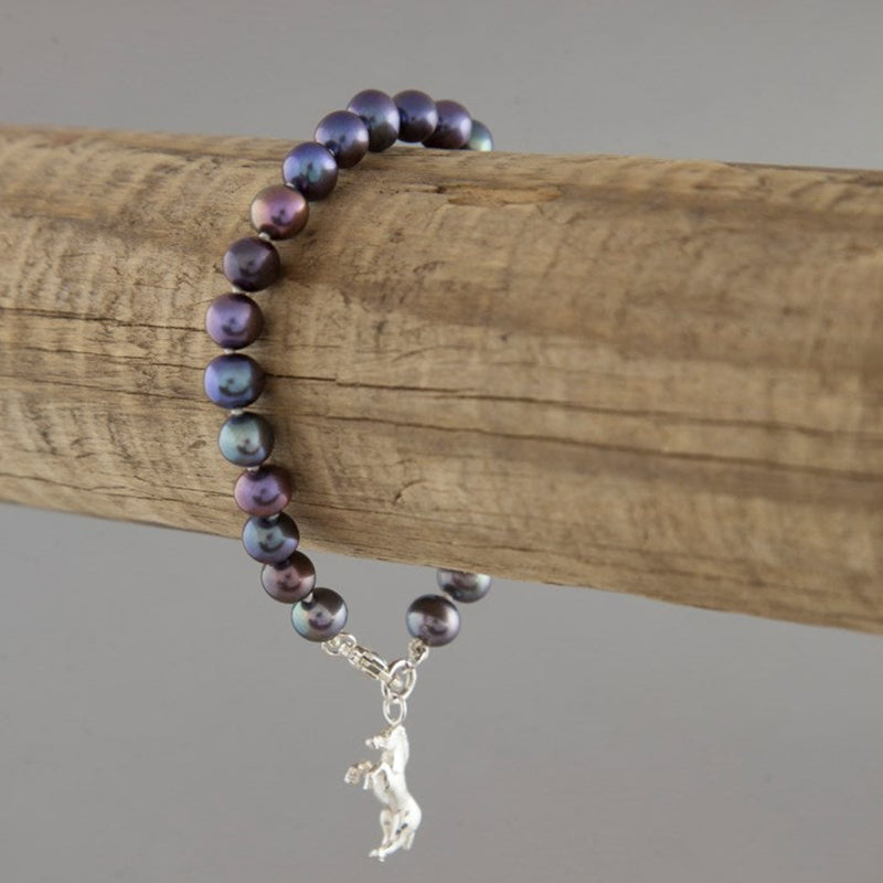 Sterling Silver Horse and Indigo Pearl Bracelet