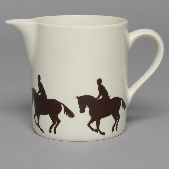 Creamware Jug with Cross Country Horse & Rider print around the base
