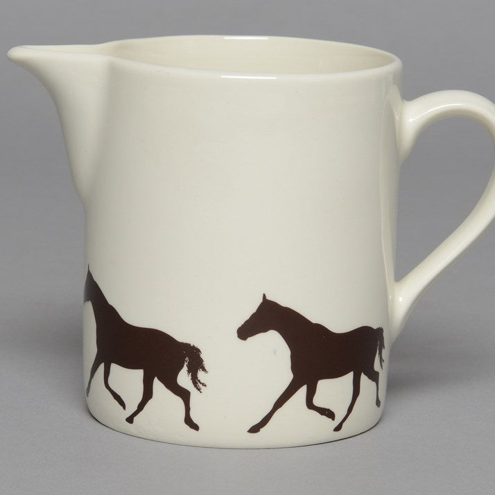 Creamware Jug with black horse print round the base