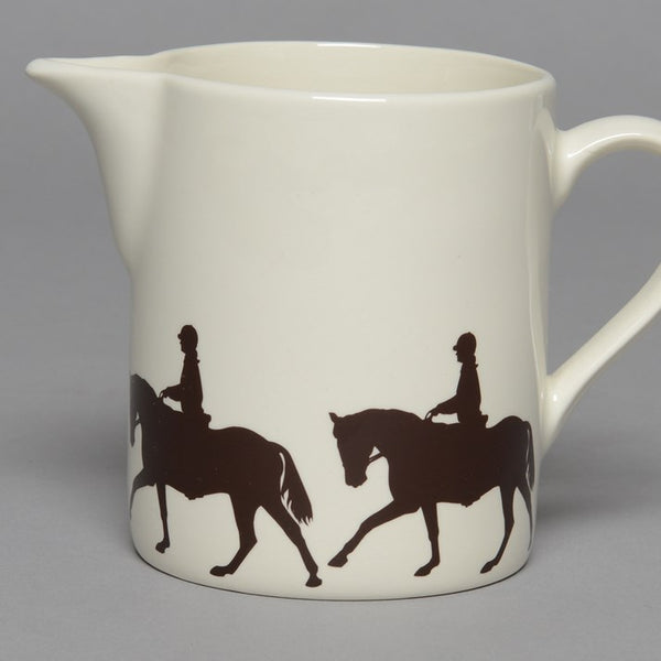 Creamware Jug with Dressage Horse & Rider print around the base