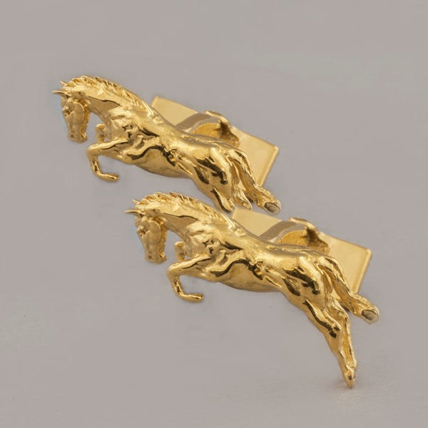 One Horse Race Sterling Silver and Gold-Plated Cufflinks