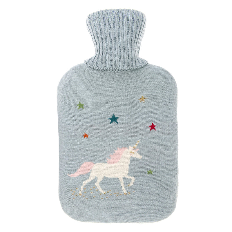 Sophie Allport Grey Hot Water Bottle with unicorn image and coloured stars on the front