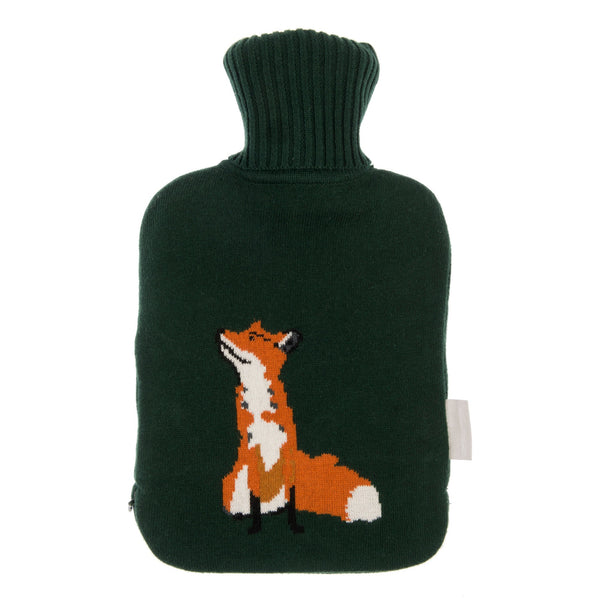 Forest Green Sophie Allport Hot Water Bottle with fox print