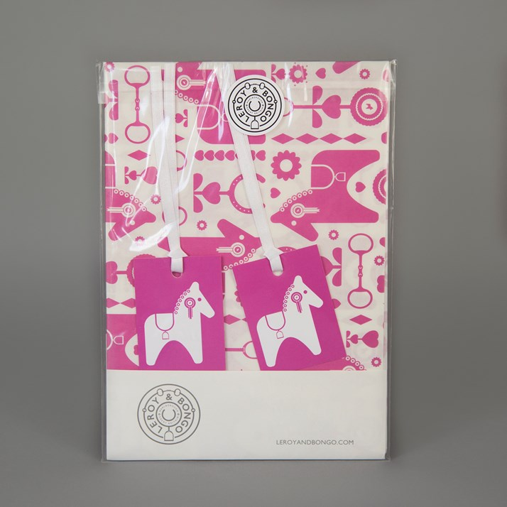 Leroy & Bongo pink horse gift wrap with 2 horse gift tags