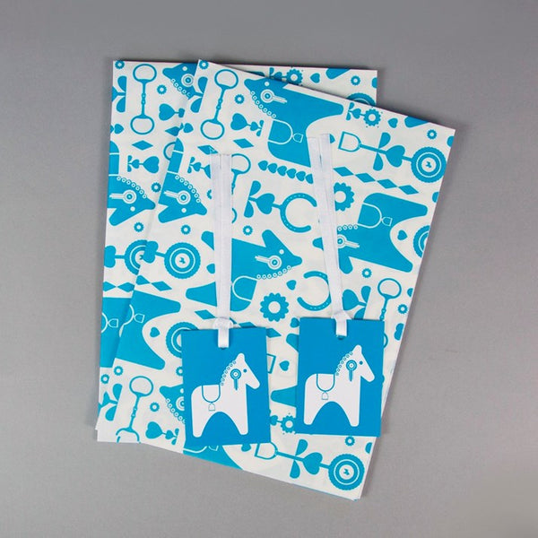Leroy & Bongo Horse Gift Wrap with 2 labels in blue