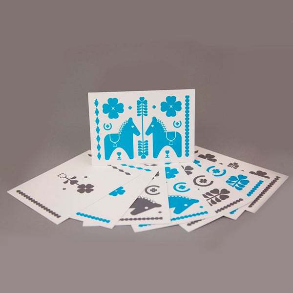 Leroy & Bongo Notecards - Aqua/Grey
