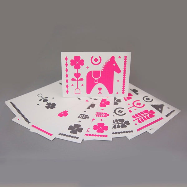 Leroy & Bongo Notecards - Pink/Grey
