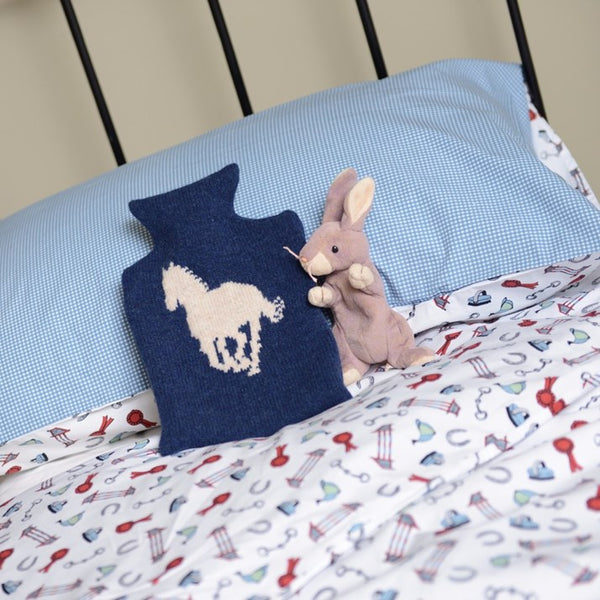 Navy Lambswool Horse Hot Water Bottle