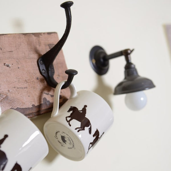 Galloping Horse and Rider Hand-Painted Ceramic Mug on a hook